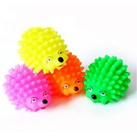 Wholesale Sound Inflatables - 1pc Cute Hedgehog Shape Puppy Squeaky Chew Squeaker Ball Funny Toy A00032 FASH