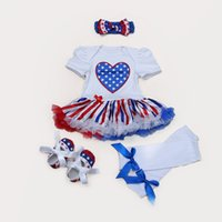 Wholesale High Neck Baby Bodysuit - 4th July USA Flag high-quality cotton baby infant wear Baby girl dress headband socks and shoes set Romper Jumpsuit Bodysuit Outfit Cloth Se