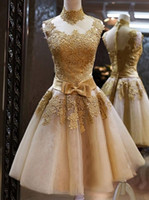 Wholesale High Waist Organza - Charming Homecoming Dresses Gold Lace High Neck Sleeveless With Bow Waist Short Prom Gown Cocktail Party Dresses