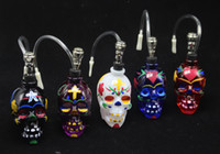 Wholesale hand painted water - Painted Skull Hand Smoking Pipes Skull Mini Glass Bongs Filter Glass Water Pipe Smoking Pipe Oil Rigs Glass Bubbler DHL