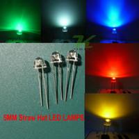 ingrosso bianco paglierino-5 colori 1000 pz / lotto 5mm bianco rosso blu verde giallo cappello di paglia ultra luminoso led kit diodi led 5mm cappello di paglia led diodi di luce spedizione gratuita