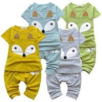 Wholesale Tshirt Toddler Cartoons - PrettyBaby 2PCS New Children Clothing Summer Animal Cotton Fox Cartoon Print Short Sleeve Tshirt Pants Toddler Baby Boy Girl Outfit