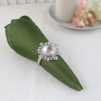 "Wholesale wedding serviettes - 50 Olive Green 12"" Square Satin Dinner Napkins or Handkerchiefs Wedding Party Colors Table Serviettes"