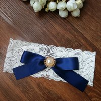 Wholesale Blue Ribbon Wholesale - Wedding Vintage Stretch Navy Blue Ribbon Bow with Pearl Bridal Lace garter