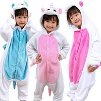 3 Designs Kinder Flanell Unicorn Warm Pyjamas Kinder Einhorn Einteilige Home Cosplay Sets Bequem auf WC Design CCA7509 5pcs
