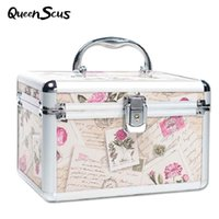 Wholesale professional jewelry storage resale online - Professional Aluminum Makeup Case Portable Travel Jewelry Cosmetic Organizer Box With Mirror Beauty Vanity Brush Storage Bag