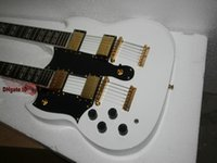 Wholesale Double Neck Left Hand - Left Handed guitars White 1275 Custom Shop Double Neck Electric Guitar 6 12 strings Gold Hardware