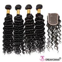 Wholesale Cheap Deep Curl Closure - Cheap Virgin Hair 100g Brazilian Deep Curl With Closure Virgin Brazilian Hair Natural Wave Double Weft Deep Curly Wave Wiht Lace Closure