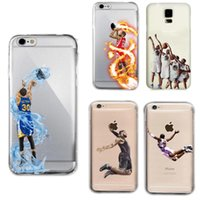 Wholesale Iphone Case Men - Curry Kobe James phone cases for iphone7 iphone 7 6 6s plus s7 edge hard PC painting cover shell basketball man defender case GSZ103