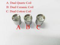 Wholesale Metal Cotton - New Cannon Atomizer Wax Coils Dual Quartz Coils Dual Ceramic Cotton Coil Head for Metal sleeve Cannon Vase Tank Glass Globe Atomizer
