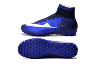 Wholesale Men Tongs - Men 100% original Mercurial Superfly CR7 TF exclusive natural diamond color C Luo Tong, male grass soccer boots soccer shoes