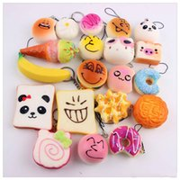 Wholesale Food Apples - Mini Squishies Kawaii Soft Squishy Foods Doughnut Lovely Cake Cute Bread Women Handbag Pendant Buns Phone Straps Free Squishies Shipping