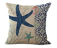 Wholesale Sea Horse Pillows - Sea Life Starfish Conch sea horses Octopus Pillow Case Cushion cover Square linen cotton Pillowcase Cover Home sofa Decor 240481