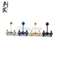 Wholesale Erotic Jewelry - Titanium Anodized Erotic Spinner Barbell Porn Tongue Ring 1.6*16*6mm Lot of 30pcs Body Jewelry
