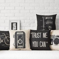 Wholesale Square Guitar Case - Free shipping novelty gift retro black camera guitar bike pattern linen cushion cover home car decorative throw pillow Case