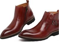 ankle boots italiano venda por atacado-Moda de luxo italiano cowboy mens botas de couro preto ocasional tornozelo bota homens sapatos masculinos para escritório de negócios de inverno