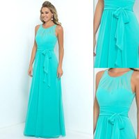 Wholesale Lavender Dresses For Brides Maids - Turquoise Bridesmaids Dresses 2016 Chiffon Sheer A-line Long Brides Maid Gowns For Women Bridal Party Cheap Price Free Shipping