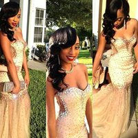 Wholesale Girls Fancy Gold Dresses - 2K16 Fancy Sexy Black Champagne Girls Prom Dresses Sweetheart Major Beading Crystals Cutaway Side Backless Illusion Skirt Evening Gowns