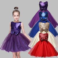 2018 New Baby Kids Girls Pageant Wedding Damigella d'onore Princess Bow Party Dress 7 Color 7 Size