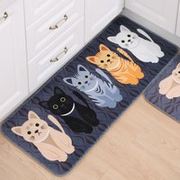 Kawaii Welcome Floor Mats Animal Cat Impreso Baño Cocina Alfombras Felpudos Cat Floor Mat para la sala de estar Antideslizante Tapete