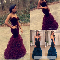 Wholesale Navy Blue Skirt Woman - 2016 Burgundy Mermaid Prom Dresses Long Sexy Sweetheart Neck Ruffles Organza Skirt Slim Fitted Formal Evening Gowns Women Party Dresses