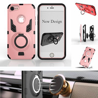 Wholesale Rugged Protection - Ring Kickstand Case Rugged Hybrid Dual Layer Shockproof Protection Case Cover For iPhone X 8 7 6 6S Plus Huawei Mate 9 P10