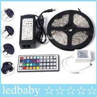 Wholesale adapter 12v waterproof for sale - Group buy SMD5050 LED Strip Light Waterproof RGB LED M roll DC V Flexible led with remote controller A adapter coil m roll