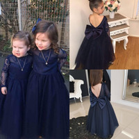 Flower Girl Dresses Azul marinho para casamento Applique Bow Sash Jewel Neck Long Sleeves Party Veste Andar Length Vestido Ball Ball