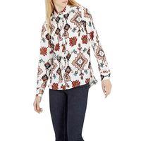 Wholesale Tribal Print Dolman Sleeve Top - Women vintage Retro Tribal print office shirts geometric long sleeve turn-down collar blouses blusa feminina casual tops
