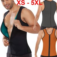 Wholesale Hot Suits For Men - Wholesale-XS - 5XL Plus size waist training corset for men Sport Vest Neoprene waist trainer waist cincher sauna suit hot shaper body M04G