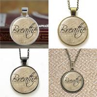 Wholesale Words Earrings - 10pcs Breathe Word Pendant glass Necklace keyring bookmark cufflink earring bracelet