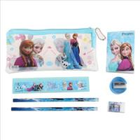 Wholesale Plastic Pencil Case Sharpener - Frozen stationery set for Students Office & School Supplies Frozen Cases Bag 1 book+2 pencils+1 Ruler+1 eraser+1 sharpener +1 bag