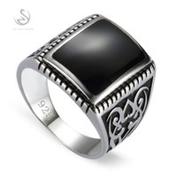 Wholesale Engagement Wedding Sterling Silver Rings For Men Black Resin S sz Romantic Style Women Jewelry Gift Noble Generous
