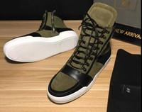 tapis vert armée achat en gros de-Cadeau de noël pour 2016 baskets de luxe armée vert chevalier mat court bottes en cuir haut haut chaussures de dentelle épaisse croûte