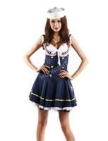 traje de marinero femenino al por mayor-Traje de marinero mayor-atractivo de la marina de guerra Traje de traje azul marino Uniforme de marinero del traje de marinero Traje de disfraces de Halloween