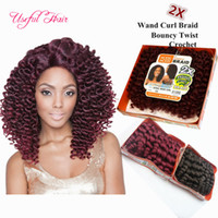 Wholesale janet braiding hair for sale - 8inch wand curl bouncy twist crochet hair extensions Janet Collection synthetic braiding hair ombre crochet braiding hair for marley women