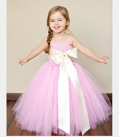Wholesale Little Girls Bow Tie Dress - 1pc Pink Tutu Tulle Dress Flower Girl Ball Gown Little Princess Bow Knot Tie Applique Children Wear for Holiday Party