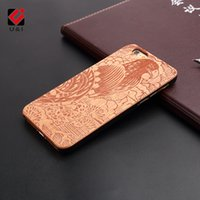Eagle Engrave 10 Pattern Wood Case para iPhone X Apple 10 Hard PC Mobile Celular Cover Negro Plastic Protective Flower Animal Coque