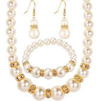 conjunto de joyas de fiesta africana al por mayor-Conjuntos de joyas de perlas Pendientes de collar de moda de cristal africano Boda mujeres regalo nupcial nuevo partido conjunto de joyas