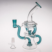 Wholesale Unique Hookah Pipes - Unique Green Glass Smoking Bongs With Recylers Percs Glass Water Pipes Two Functions Dab Rigs Pipes Free Shipping Smoking Hookahs