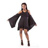 chauve-souris noir plus la taille des robes achat en gros de-Manches chauve-souris robes noires sexy pour les femmes costume-robe robe de manches chauve-souris plus taille irrégulière dos robes de sangle
