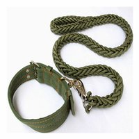 Wholesale Pet Shop Set - 2016 Army Green Dog Collar and Dog Leash Set Nylon Braided Pet Shop Best Selling Collar Dog Free Shipping