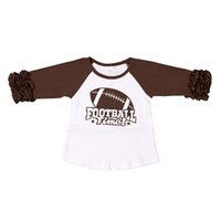 Wholesale Wholesale T Shirt Football - Wholesale Cotton Brown Raglan Shirts Ruffle Sleeve Baby Girls Tees Football Time Girls Icing Tops Girls Icing Raglan T-shirt