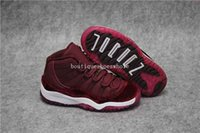 Wholesale Velvet Round Box - Kids Air retro 11 Heiress red basketball Shoes Air retro 11 Red Velvet Space Jam Sneakers Kids Size 28-35 Come With Box