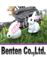 Wholesale Easter Garden Craft - fairy garden miniature bunny white color artificial mini rabbits bunny decors resin crafts bonsai decors cute bunny Easter Bunny LLFA11
