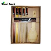 Wholesale Asian Kitchen - Wholesale-Portable Wood Chopsticks Set 1 Rice Scoop Travelling Kitchen Utensils Tableware Gift Picnic 5 Chopsticks Pack Asian Flatware