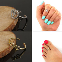 Wholesale unique simple rings - Women Toe Rings Simple Love Peace Symbol Midi Finger Ring Unique Gold Silve Knuckle Rings Foot Jewelry Summer Beach Stylish Body Jewellry
