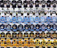Wholesale Lemieux Jerseys - Pittsburgh Penguins 87 Sidney Crosby Jerseys Ice Hockey Throwback 58 Kris Letang 71 Evgeni Malkin 81 Phil Kessel 66 Mario Lemieux Black