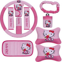 Wholesale Pink Car Seats Covers - 10pcs   set Hello kitty Car Seat Cover Pink Interior Accessories Universal Steering Wheel Cover Head Pillow Universal Automotive Upholstery