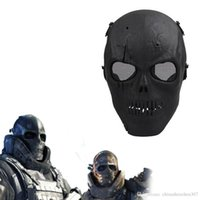 Wholesale Skull Mask Paintball - 2016 Army Mesh Full Face Mask Skull Skeleton Airsoft Paintball BB Gun Game Protect Safety Mask